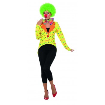 Colourful Clown Tailcoat Jacket, Ladies Fancy Dress Costume