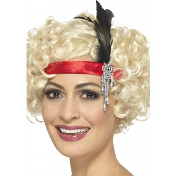 Red Satin Charleston Headband Fancy Dress Accessory