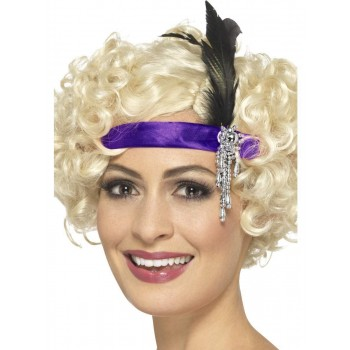 Purple Satin Charleston Headband Fancy Dress Accessory