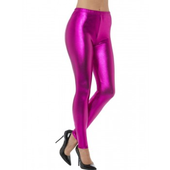 80s Metallic Disco Leggings Fancy Dress Costume