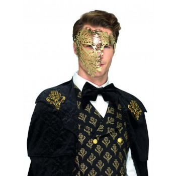 Deluxe Metal Filigree Phantom Mask Fancy Dress Accessory