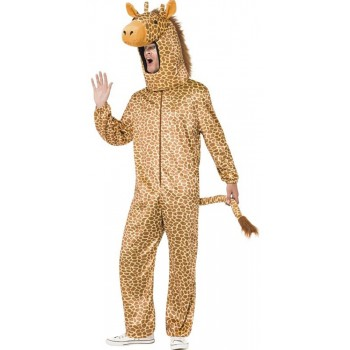 Mens Orange Giraffe All in One Fancy Dress Costume