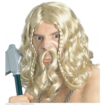 Viking Wig With Moustache - Fancy Dress (Viking)