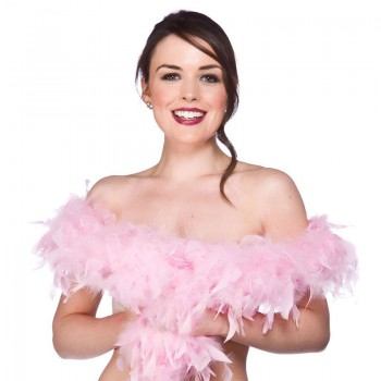 Supersoft Feather Boa Light Pink 60Gm/1.7M - Fancy Dress Ladies