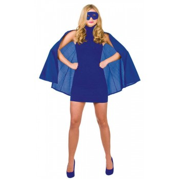 Blue Adult Super Hero Cape With Mask Fancy Dress Accessory