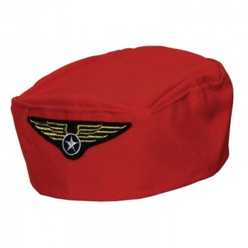 Flight Attendant Hat - Red Fancy Dress (Pilot/Air)
