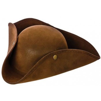 Adult Super Deluxe Brown Suede Pirate Hat Fancy Dress Accessory