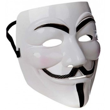 Adults White Anonymous/Guy Fawkes Mask Fancy Dress Accessory