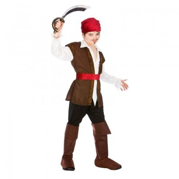 Boys Brown High Seas Caribbean Pirate Fancy Dress Costume