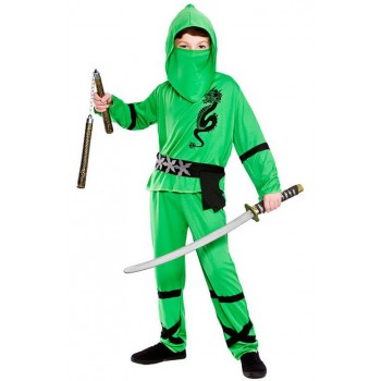 Boy'S Green Power Ninja Fancy Dress Costume