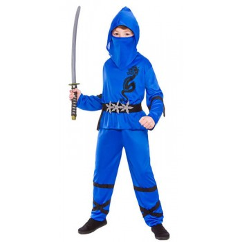 Boy'S Blue Power Ninja Fancy Dress Costume