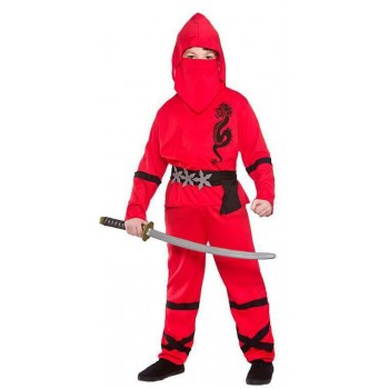 Boy'S Red Power Ninja Fancy Dress Costume