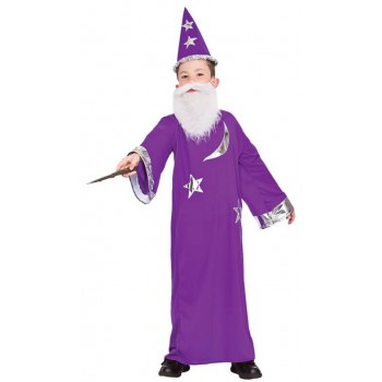 Boy's Purple Magical Wizard Fancy Dress Costume