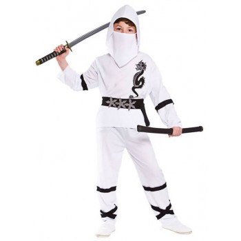 Boy'S White Power Ninja Fancy Dress Costume