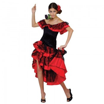 Ladies Red & Black Sexy Spanish Senorita Fancy Dress Costume