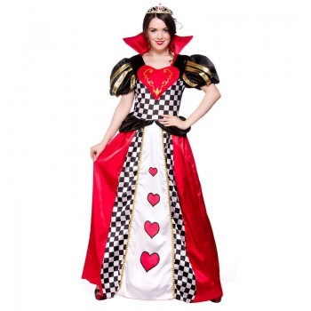 LADIES FAIRYTALE QUEEN OF HEARTS FAIRY TALES - (RED, WHITE, BLACK)
