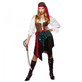 Ladies Caribbean Pirate (Budget) Pirates Outfit - (Multicolour)