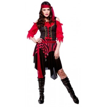 LADIES SHIPWRECKED PIRATE PIRATES OUTFIT - (RED, BLACK)