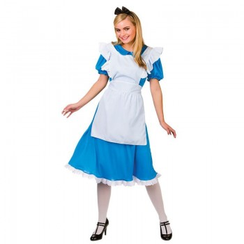 Ladies Blue & White Story Book Alice Fancy Dress Costume
