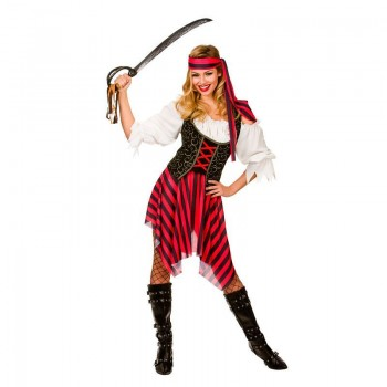 Ladies Black & Red High Seas Caribbean Pirate Fancy Dress Costume