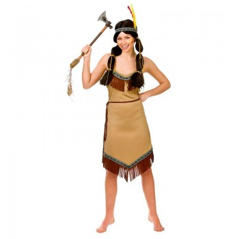 Ladies Brown Native American Indian Fancy Dress Costume