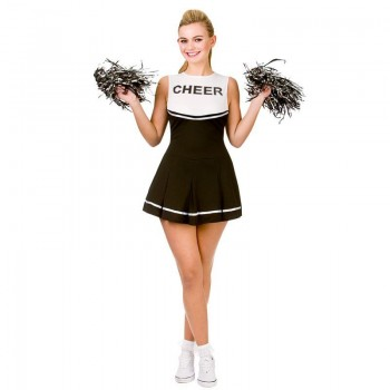 Ladies Black/White College Cheerleader Fancy Dress Costume