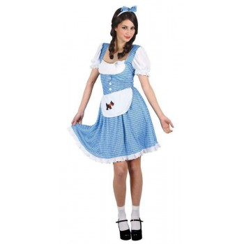 Ladies Blue/White Oz Dorothy Country Girl Fairy Tale Fancy Dress Costume