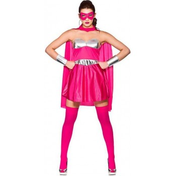 Ladies Hot Pink/Silver Avenging Super Hero Fancy Dress Costume
