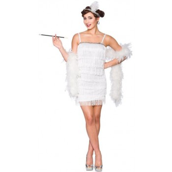 Ladies White 1920'S Showtime Flapper Fancy Dress Costume