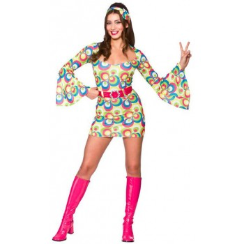 Ladies 60'S Retro Go Go Girl Fancy Dress Costume