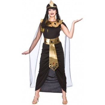 Ladies Black/Gold Charming Queen Cleopatra Fancy Dress Costume