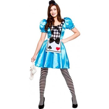 Ladies Blue Cute Storybook Alice Fancy Dress Costume