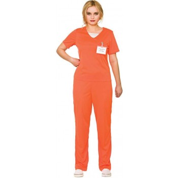 Ladies Orange Convict Fancy Dress Costume.