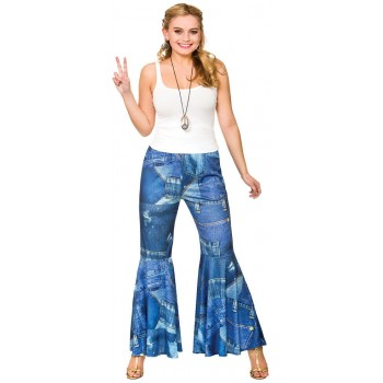 Ladies Funky Jeans Denim Print - Hippie Pants Fancy Dress Item