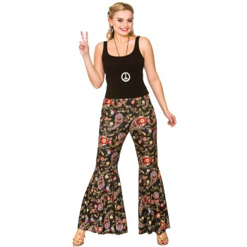Ladies Black Paisley Groovy Hippie Pants Fancy Dress Item