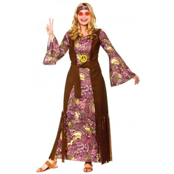 Ladies Summer of Love Purple Paisley Fancy Dress Costume