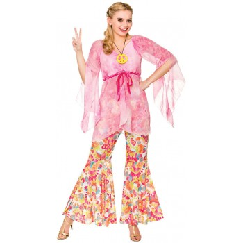 Ladies Pink 60's Groovy Hippie Fancy Dress Costume