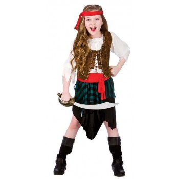 Girls High Seas Caribbean Pirate Fancy Dress Costume