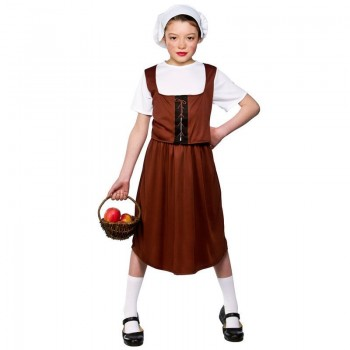 Girls Tudor Peasant Girl Tudor Outfit - (Brown)