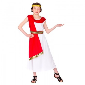 Girls White Ancient Roman Princess Fancy Dress Costume