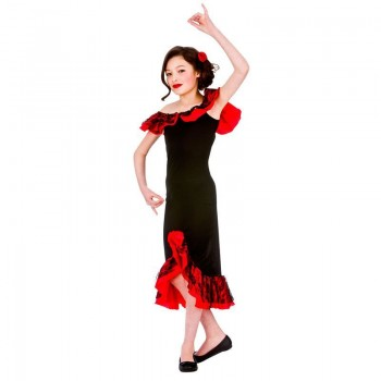 Girls Red/Black Spanish Latin Flamenco Dancer Senorita Fancy Dress Costume