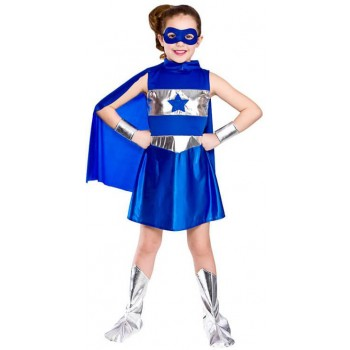 Girls Blue Avenging Super Hero Fancy Dress Costume