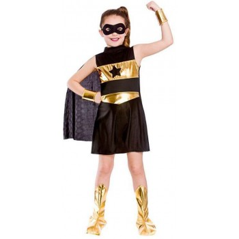 Girls Black Avenging Super Hero Fancy Dress Costume