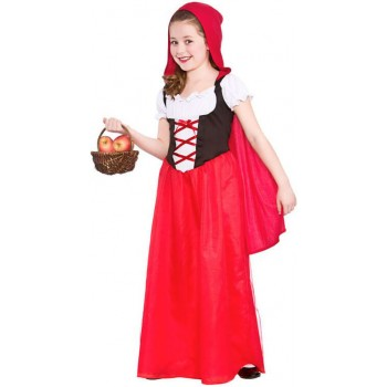 GIRLS LONGER LENGTH RED RIDING HOOD FANCY DRESS COSTUME