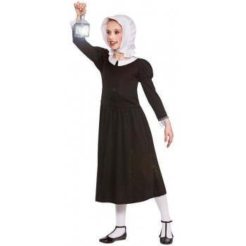Girls Black Victorian Wartime Florence Fancy Dress Costume