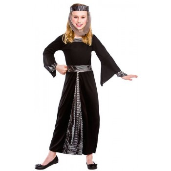 Girls Black Medieval Damsel In Distress Fancy Dress Costume