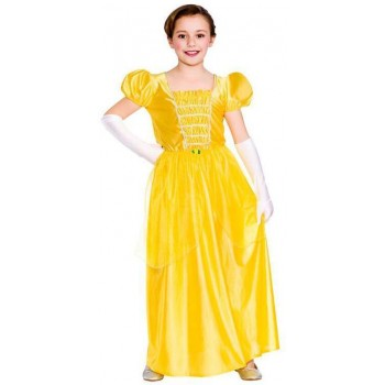 Girls Beautiful Golden Fantasy Princess Fancy Dress Costume