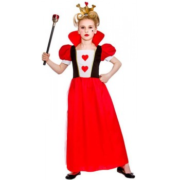 Girls Storybook Queen Of Hearts Fancy Dress Costume