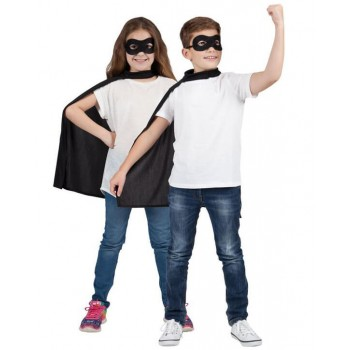 Childs Black Super Hero Cape & Mask Fancy Dress Costume