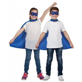 Childs Blue Super Hero Cape & Mask Fancy Dress Costume